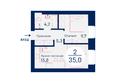 Микрорайон SCANDIS (Скандис) мкр, 4 дом: Планировка двухкомнатной квартиры 35 кв.м