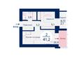 Микрорайон SCANDIS (Скандис) мкр, 1 дом: Планировка двухкомнатной квартиры 41,2 кв.м