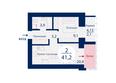 Микрорайон SCANDIS (Скандис) мкр, 3 дом: Планировка двухкомнатной квартиры 41,2 кв.м