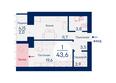 Микрорайон SCANDIS (Скандис) мкр, 4 дом: Планировка однокомнатной квартиры 43,6 кв.м