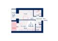 Микрорайон SCANDIS (Скандис) мкр, 3 дом: Планировка однокомнатной квартиры 43,6 кв.м