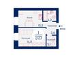 Микрорайон SCANDIS (Скандис) мкр, 1 дом: Планировка однокомнатной квартиры 37,7 кв.м