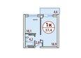 Жилой комплекс БЕЛЫЕ РОСЫ МКР, 22 дом: Секция №1. Планировка однокомнатной квартиры 37,4 кв.м