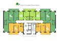 Green Park ж/к: Планировка 2-16 этажей, 2 б/с