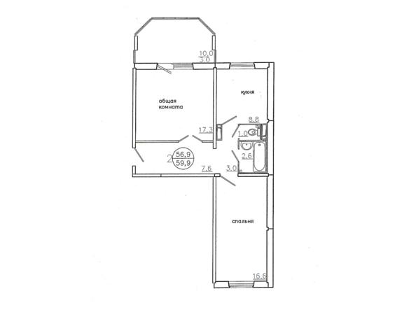 Планировки новостроек Караульная, 6 дом, 3 оч - Планировка двухкомнатной квартиры 59,9 кв.м.