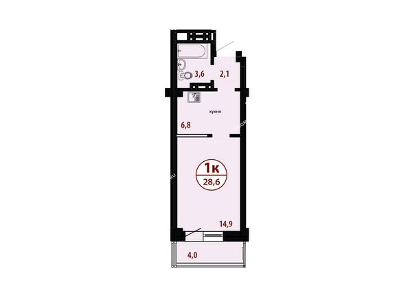 БЕЛЫЕ РОСЫ мкр, 26 дом: Секция №4. Планировка однокомнатной квартиры 28,6 кв.м