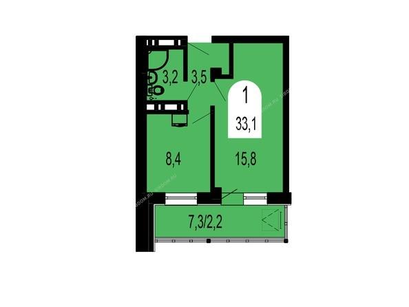 Планировки Жилой комплекс ТИХИЕ ЗОРИ мкр, 1 дом (Красстрой) - Планировка однокомнатной квартиры 33,1 кв.м