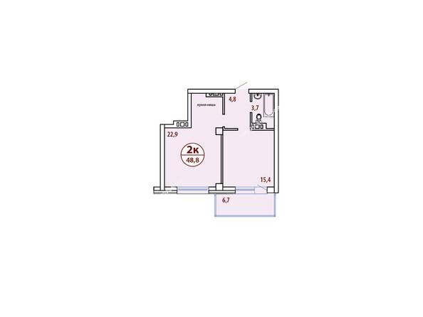 Планировки новостроек БЕЛЫЕ РОСЫ МКР, 30 дом - Планировка двухкомнатной квартиры 48,8 кв.м