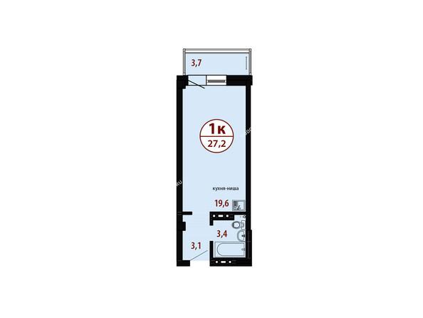 БЕЛЫЕ РОСЫ мкр, 26 дом: Секция №3. Планировка однокомнатной квартиры 27,2 кв.м