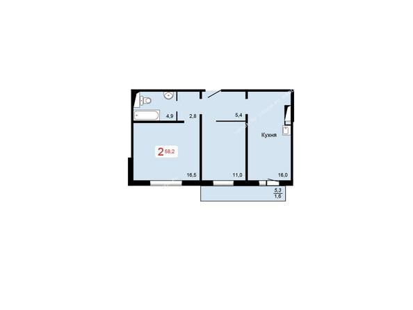 Планировки Жилой комплекс КУРЧАТОВА ж/к, 6 дом, 1 стр - 2 блок-секция. Планировка двухкомнатной квартиры 58,2 кв.м