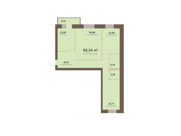 Планировки Жилой комплекс ЮЖНЫЙ БЕРЕГ мкр, 17 дом - Планировка трехкомнатной квартиры 93,25 кв.м