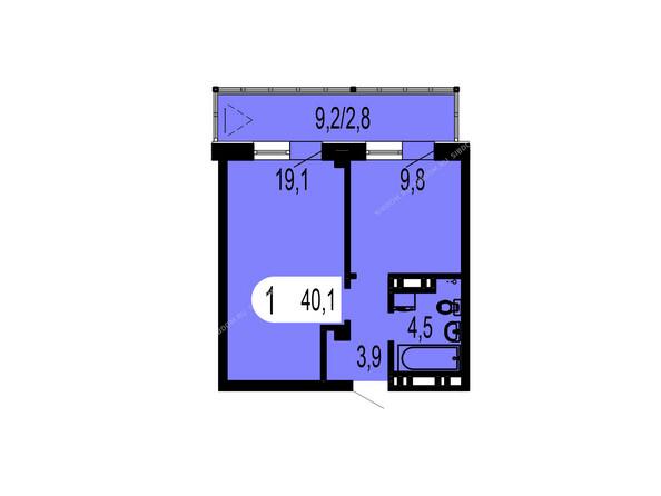 Планировки Жилой комплекс ТИХИЕ ЗОРИ мкр, 1 дом (Красстрой) - Планировка однокомнатной квартиры 40,1 кв.м