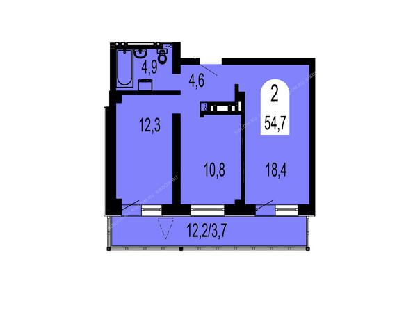 Планировки Жилой комплекс ТИХИЕ ЗОРИ мкр, 1 дом (Красстрой) - Планировка двухкомнатной квартиры 54,7 кв.м