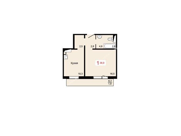 Планировки Жилой комплекс КУРЧАТОВА ж/к, 6 дом, 1 стр - 3 блок-секция. Планировка однокомнатной квартиры 38,9 кв.м