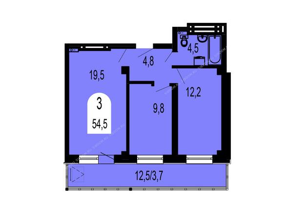 Планировки Жилой комплекс ТИХИЕ ЗОРИ мкр, 1 дом (Красстрой) - Планировка трехкомнатной квартиры 54,5 кв.м