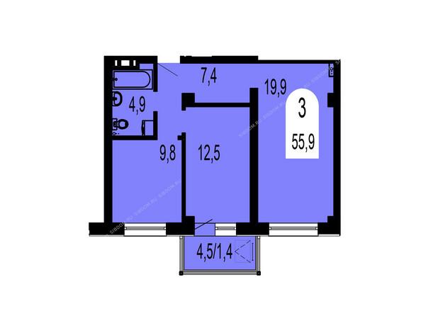Планировки Жилой комплекс ТИХИЕ ЗОРИ мкр, 1 дом (Красстрой) - Планировка трехкомнатной квартиры 55,9 кв.м