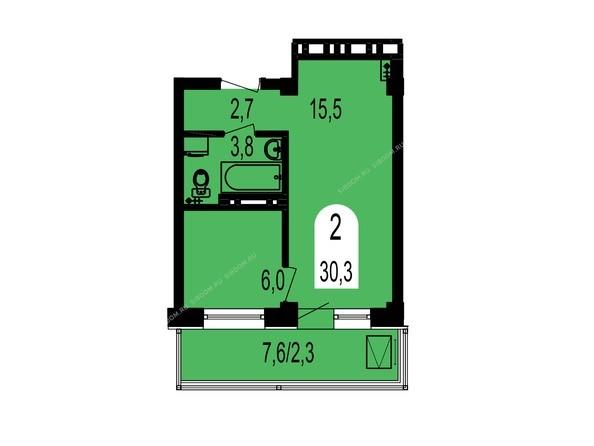 Планировки Жилой комплекс ТИХИЕ ЗОРИ мкр, 1 дом (Красстрой) - Планировка двухкомнатной квартиры 30,3 кв.м