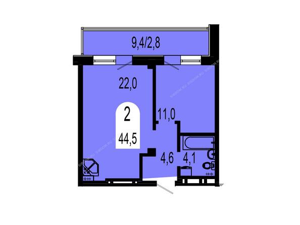 Планировки Жилой комплекс ТИХИЕ ЗОРИ мкр, 1 дом (Красстрой) - Планировка двухкомнатной квартиры 44,5 кв.м