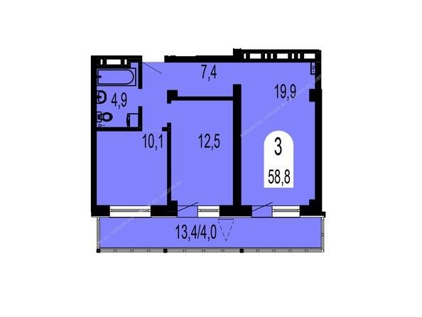 Планировки Жилой комплекс ТИХИЕ ЗОРИ мкр, 1 дом (Красстрой) - Планировка трехкомнатной квартиры 58,8 кв.м