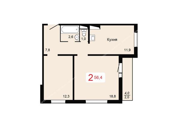 Планировки Жилой комплекс ДОМИНО ж/к, 3 дом - Планировка двухкомнатной квартиры 56,4 кв.м