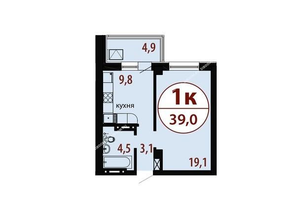 Планировки новостроек БЕЛЫЕ РОСЫ МКР, 25 дом - Секция 2. Планировка однокомнатной квартиры 39,0 кв.м
