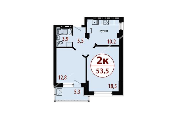 Планировки новостроек БЕЛЫЕ РОСЫ МКР, 25 дом - Секция 1. Планировка двухкомнатной квартиры 53,5 кв.м