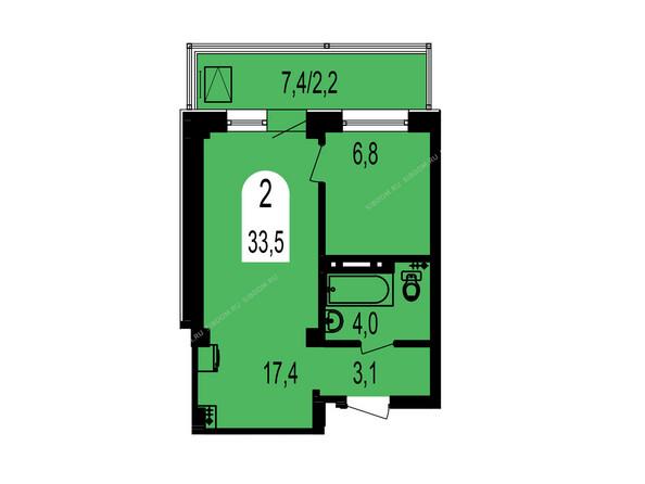 Планировки Жилой комплекс ТИХИЕ ЗОРИ мкр, 1 дом (Красстрой) - Планировка двухкомнатной квартиры 33,5 кв.м