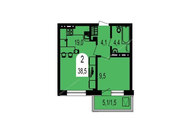 Планировка двухкомнатной квартиры 38,5 кв.м