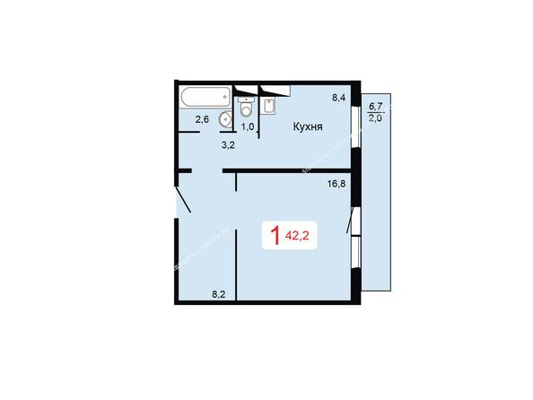Планировки Жилой комплекс ТИХИЕ ЗОРИ мкр, 2 дом - Планировка однокомнатной квартиры 42,2 кв.м