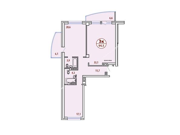Планировки новостроек БЕЛЫЕ РОСЫ МКР, 30 дом - Планировка трехкомнатной квартиры 94,5 кв.м