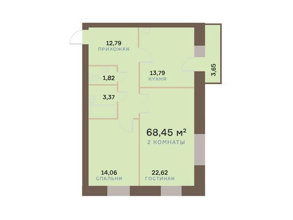 Планировки Жилой комплекс ЮЖНЫЙ БЕРЕГ мкр, 17 дом - Планировка двухкомнатной квартиры 69,55 кв.м