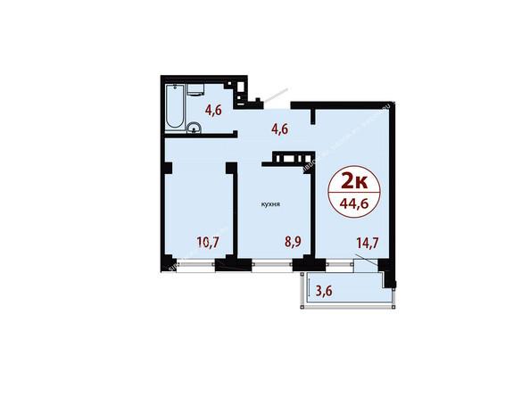 Планировки новостроек СЕРЕБРЯНЫЙ мкр, квр 1, 1 дом - Секция 3. Планировка двухкомнатной квартиры 44,6 кв.м