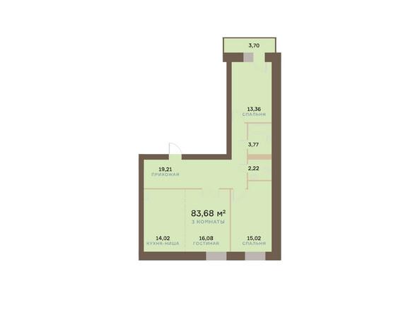 Планировки Жилой комплекс ЮЖНЫЙ БЕРЕГ мкр, 17 дом - Планировка трехкомнатной квартиры 84,79 кв.м