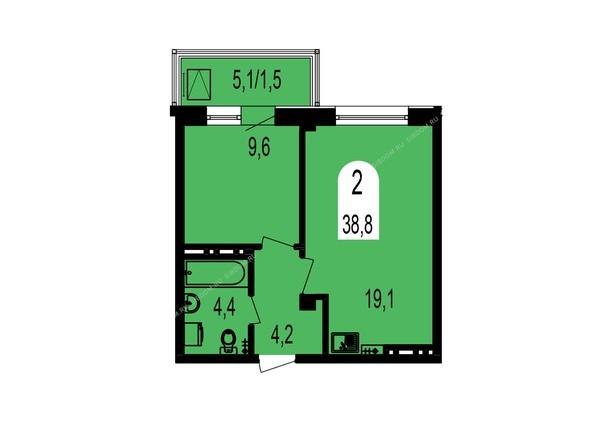Планировки Жилой комплекс ТИХИЕ ЗОРИ мкр, 1 дом (Красстрой) - Планировка двухкомнатной квартиры 38,8 кв.м