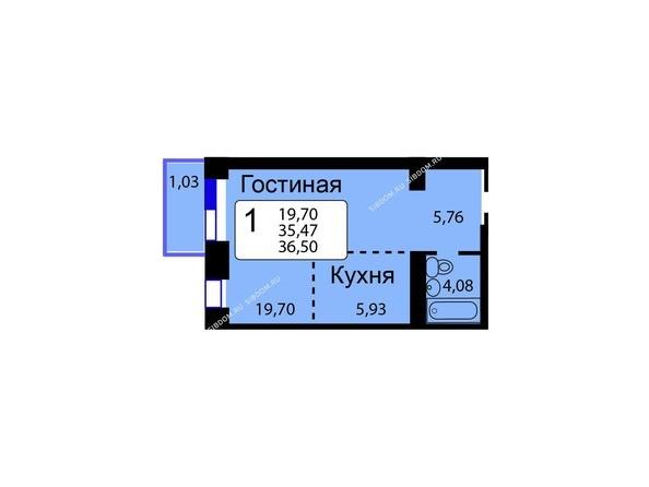 Планировки новостроек РЯБИНОВЫЙ САД ж/к, 3 оч, 2 этап - Б/С - 12. Планировка однокомнатной квартиры 36,50 кв.м. Этажи 1-9.