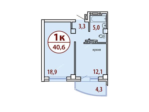 Планировки Жилой комплекс БЕЛЫЕ РОСЫ МКР, 22 дом - Секция №1. Планировка однокомнатной квартиры 40,6 кв.м