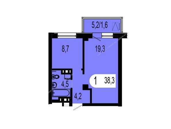 Планировки Жилой комплекс ТИХИЕ ЗОРИ мкр, 1 дом (Красстрой) - Планировка однокомнатной квартиры 38,3 кв.м