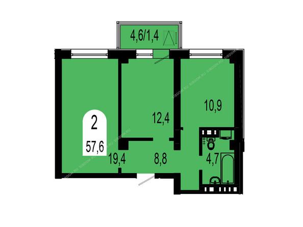 Планировки Жилой комплекс ТИХИЕ ЗОРИ мкр, 1 дом (Красстрой) - Планировка двухкомнатной квартиры 57,6 кв.м