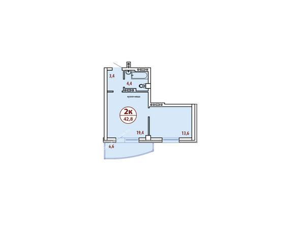 Планировки новостроек БЕЛЫЕ РОСЫ МКР, 30 дом - Планировка двухкомнатной квартиры 42,8 кв.м