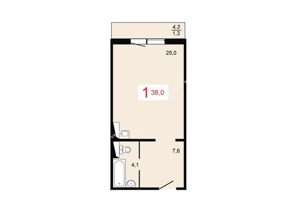 Планировки Жилой комплекс ТИХИЕ ЗОРИ мкр, 2 дом - Планировка однокомнатной квартиры 38 кв.м