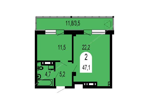 Планировки Жилой комплекс ТИХИЕ ЗОРИ мкр, 1 дом (Красстрой) - Планировка двухкомнатной квартиры 47,1 кв.м
