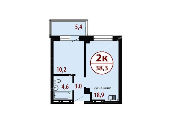 БЕЛЫЕ РОСЫ мкр, 26 дом: Секция №1. Планировка двухкомнатной квартиры 38,3 кв.м