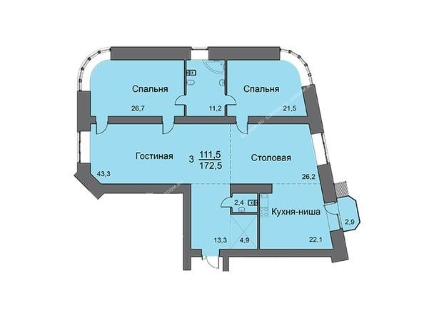Планировки новостроек SKY SEVEN ж/к, ЛАЙНЕР Liner - Планировка трехкомнатной квартиры 172,5 кв.м