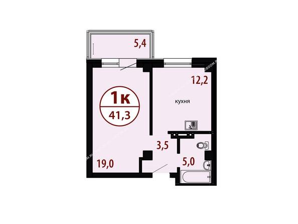 БЕЛЫЕ РОСЫ мкр, 26 дом: Секция №1. Планировка однокомнатной квартиры 41,3 кв.м