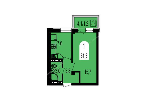 Планировки Жилой комплекс ТИХИЕ ЗОРИ мкр, 1 дом (Красстрой) - Планировка однокомнатной квартиры 31,3 кв.м