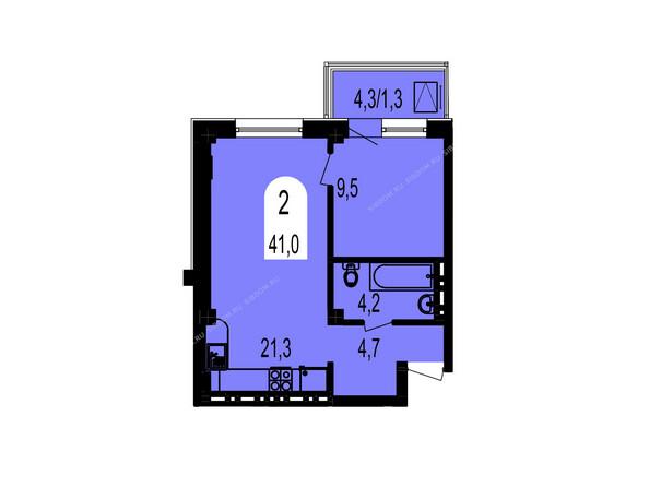 Планировки Жилой комплекс ТИХИЕ ЗОРИ мкр, 1 дом (Красстрой) - Планировка двухкомнатной квартиры 41 кв.м