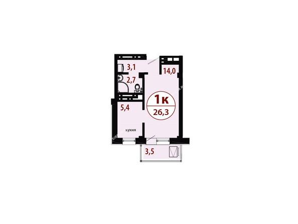 Планировки новостроек СЕРЕБРЯНЫЙ мкр, квр 1, 1 дом - Секция 1. Планировка однокомнатной квартиры 26,3 кв.м