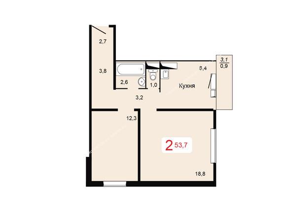 Планировки Жилой комплекс ТИХИЕ ЗОРИ мкр, 2 дом - Планировка двухкомнатной квартиры 53,7 кв.м