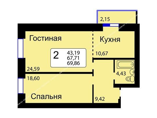 Планировки новостроек РЯБИНОВЫЙ САД ж/к, 3 оч, 2 этап - Б/С - 11. Планировка двухкомнатной квартиры 69,86 кв.м. Этажи 10-16.