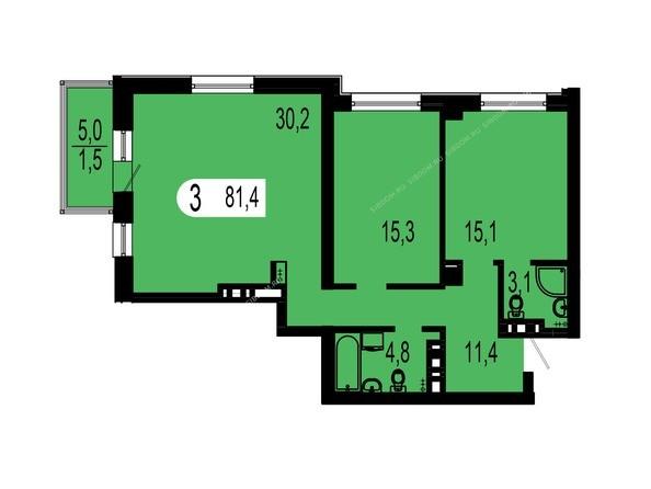 Планировки Жилой комплекс ТИХИЕ ЗОРИ мкр, 1 дом (Красстрой) - Планировка трехкомнатной квартиры 81,4 кв.м